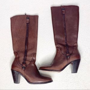 Trask Brown Leather Heeled Boots with Braiding